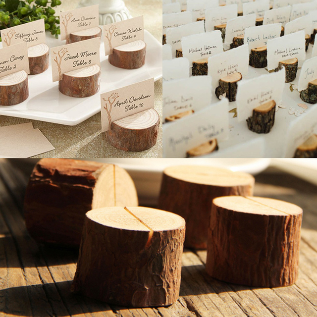 3cm Rustic Wedding Wooden Place Card Holder Wood Stump Escort Card