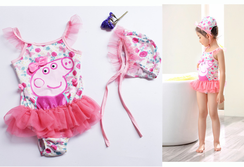 2018 Summer Gril /Baby Swimwear Peppa Pig One Piece Swimwear Bubble Skirt Dress Kids Swimsuit Beachwear Surfing Swimming Suits