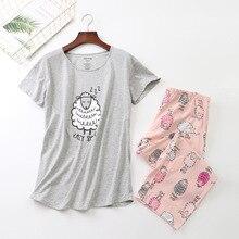새로운 2019 여름 여성 잠옷 코 튼 인쇄 핑크 양 pyjama 세트 탑 + 카프리 탄성 허리 플러스 크기 3XL 라운지 pijamas S92905