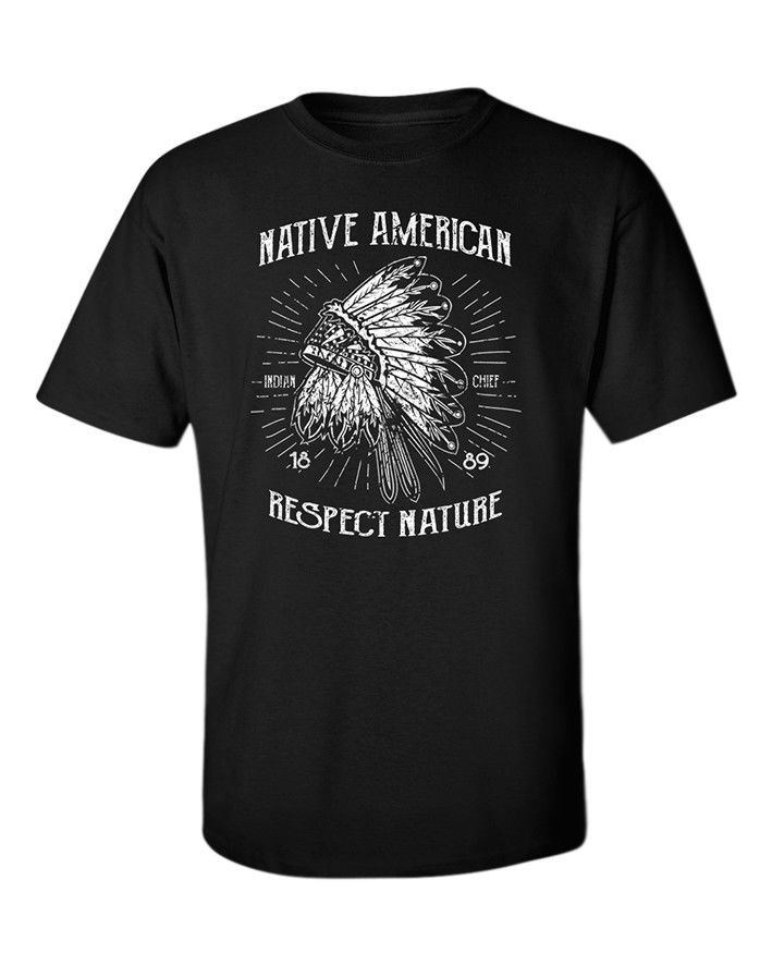 Indian Chief T-Shirt American Native USA Respect Nature Apache Wolf Vintage Tee Printed T Shirt Summer MenS Top Tee
