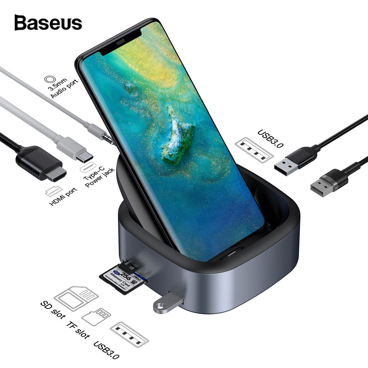 Baseus USB C HUB Docking Station For Huawei P30 P20 Pro Samsung S10 S9 Dex Pad Type C to USB3.0 HDMI Jack 3.5mm PD Charger Dock