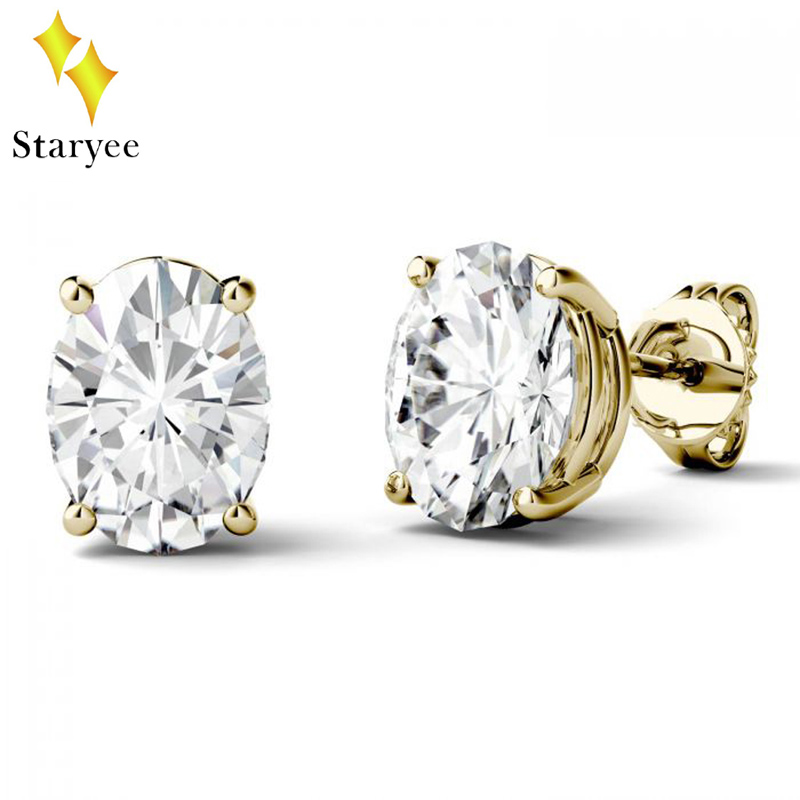 Charles Colvard Luxury Pure 18k Solid Yellow Gold 1.5CT Oval Lab Diamond Moissanite Stud Earrings For Women Gift Brand Design