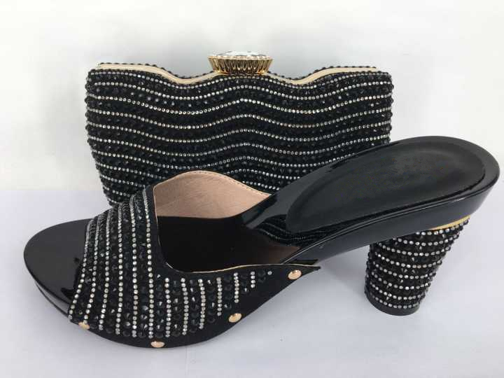 ФОТО New African Ladies Shoe and Bag Set Elegant Black Decorated with Rhinestone Women Pumps Women Shoe and Bag To Match for Parties