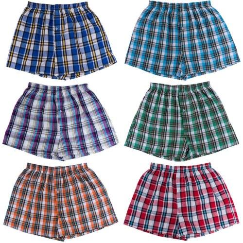 Men Casual Plaid Cotton Underwear Boxer Elastic Waist Shorts Plaid Underpants Boxers