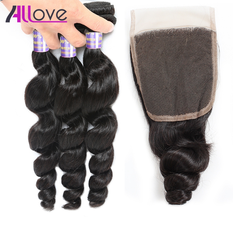 Allove Indian Loose Wave With Closure 100% Human Hair Bundles Natural Color 3Bundles Remy Hair Extensions Free Part Lace Closure