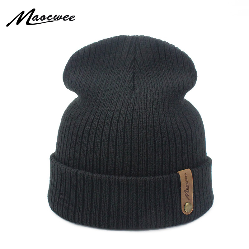 MAOCWEE   Skullies     Beanies   Winter Hat For Women Warm Cap Men Unisex Brand Knit   Beanie   Hats Winter Solid Color Knitted Caps Bones