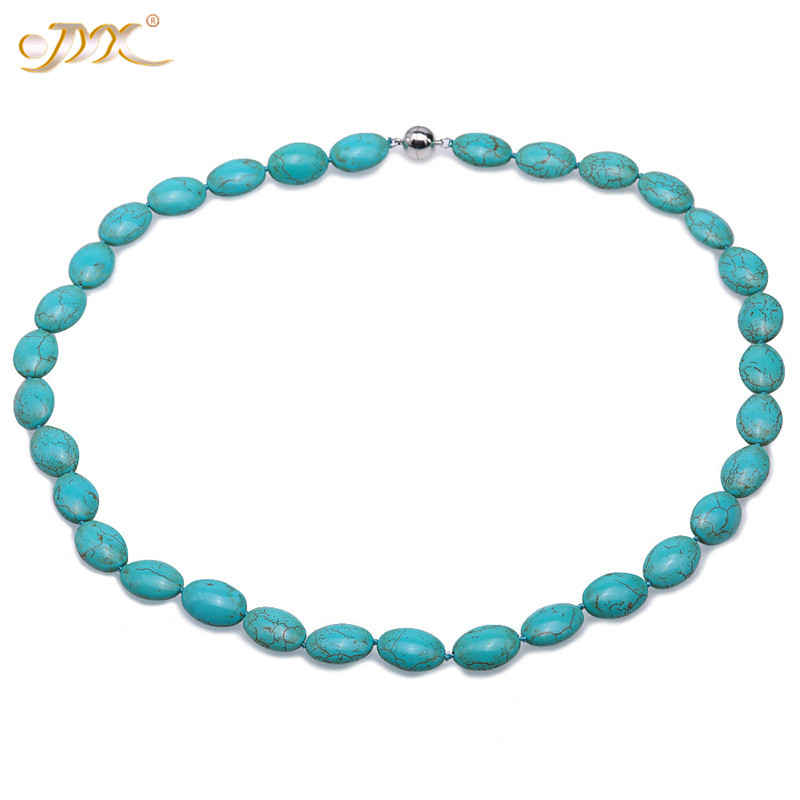 JYX 2019 Elegant Green blue Turquoise Necklace 12.5x17.5mm Oval Flat Shape for Women 24 beautiful lines