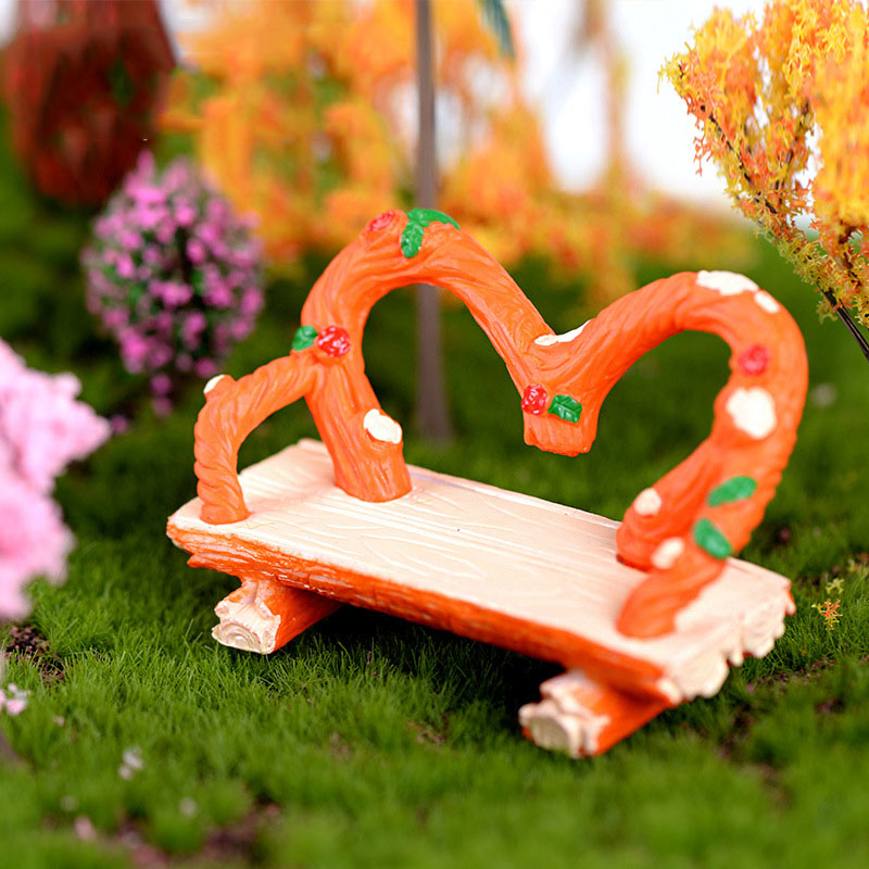 Mini Furniture Recliners Model Stump Bench Chair Figurines Micro Garden Fairy Miniature/Terrarium Ornaments DIY Accessories