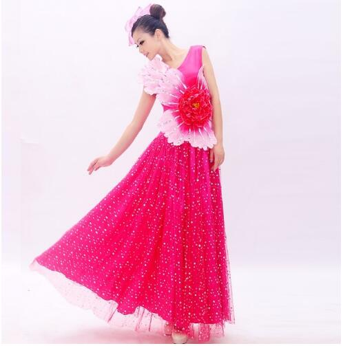 (0118) Woman Poetic big swing red peony modern dance one-piece dress sequins Embroidery chorus Chinese folk dance costumes