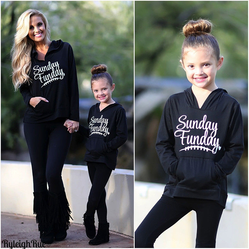 CANIS Family Matching Clothes Women Girl Clothes 2017 Kid Sports Pocket Casual Hoodie Sweatshirt Sundays Funday Sweater Black