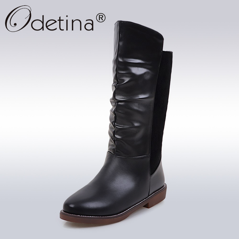 Odetina Winter Classic PU Leather Snow Boots Women Fashion Warm Fur Mid-Calf Boots Ladies Flat Boots Brown Black Plus Size 43 double buckle cross straps mid calf boots