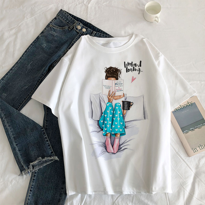Girl Reading Book Women's 2019 New Fashion Print T-shirts Clothes Summer O-neck T Shirts Casual Aesthetic Harajuku Shirt Tshirts
