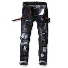 new European American Style Men's jeans slim denim trousers Straight brand jeans Patchwork black zipper designer jeans pants 805