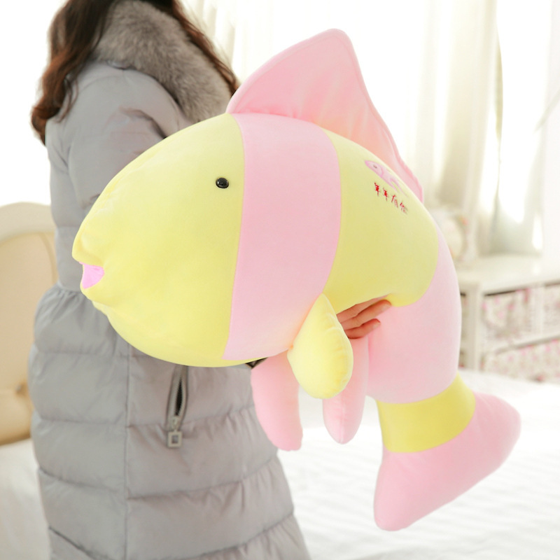 Eiderdown Cotton Tropical Fish Plysch Toy Striped Fish Pillow Fylld Djur Ceative Gift för Flicka Barn