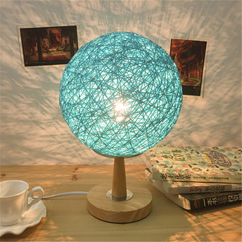 Bedroom bedside lamp remote  colorful Nightlight creative fashion garden lamp lamp twine cane