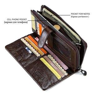 Image 4 - Contacts Brand Designer cartera de mano de cuero de vaca 100% auténtico para hombre, monedero, tarjetero, Vintage, con bolsillo para monedas