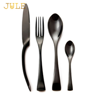 24 Pcs Lot Top Quality Stainless Steel Black Cutlery Set Knife And Fork And Tablespoon Dinnerware