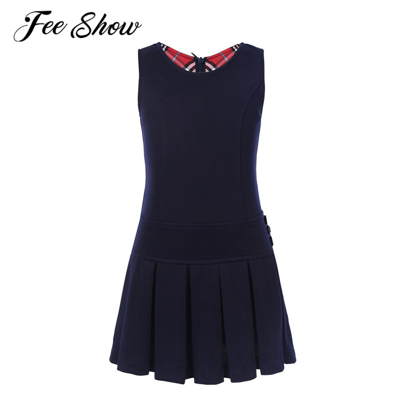 2-9 Years Sleeveless A-Line Girls Autumn Daily Dress Baby Girl Pleated Hem Dress Jumper For Birthday Party School Casual Wear