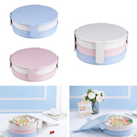 3 Layers Compote Candy Dry Fruit Plate Storage Box With Lid Wheat Fiber Food Trays Snacks