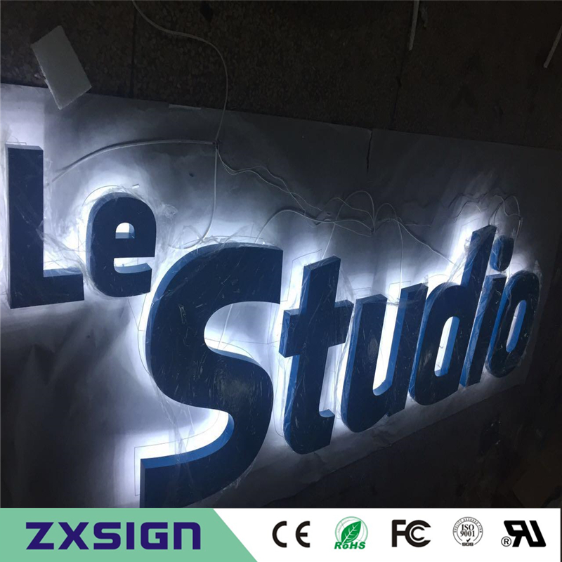 Factory Outlet outdoor backlit metal advertising sign letters, halo lit stainless steel studio name signagesFactory Outlet outdoor backlit metal advertising sign letters, halo lit stainless steel studio name signages