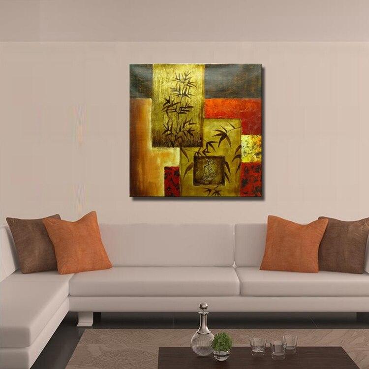 12 77 50 De Réduction Art Mural Décoratif Populaire Peinture Moderne Arbre Et Feuilles Peintures Abstraites Peinture Acrylique Dorée Sur Toile En