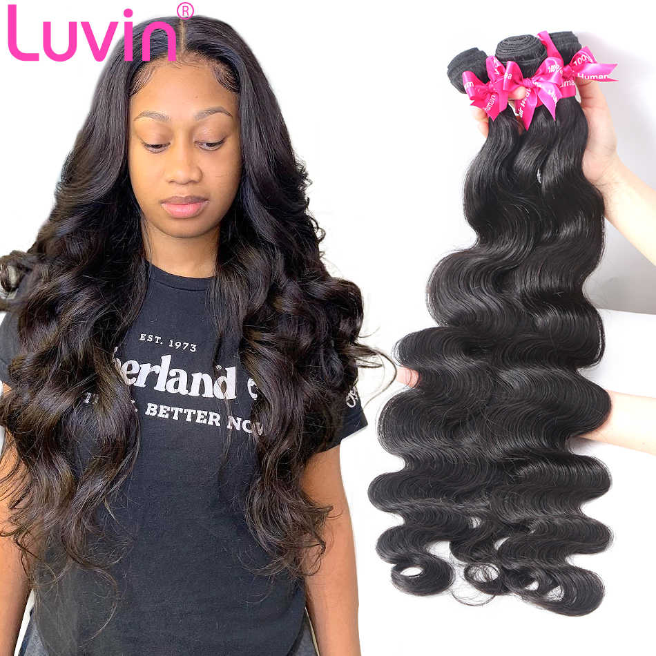 Luvin Brazilian Hair Weave 3 4 Bundles Body Wave Virgin Hair Weave 100% Unprocessed Human Hair Extensions 30 Inch Natural Color