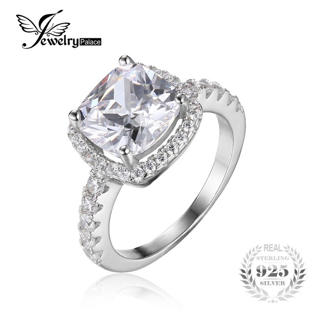 JewelryPalace Cushion 3ct Cubic Zirconia Wedding Halo Solitaire Engagement Ring Solid 925 Sterling Silver Luxury Bridal Jewelry