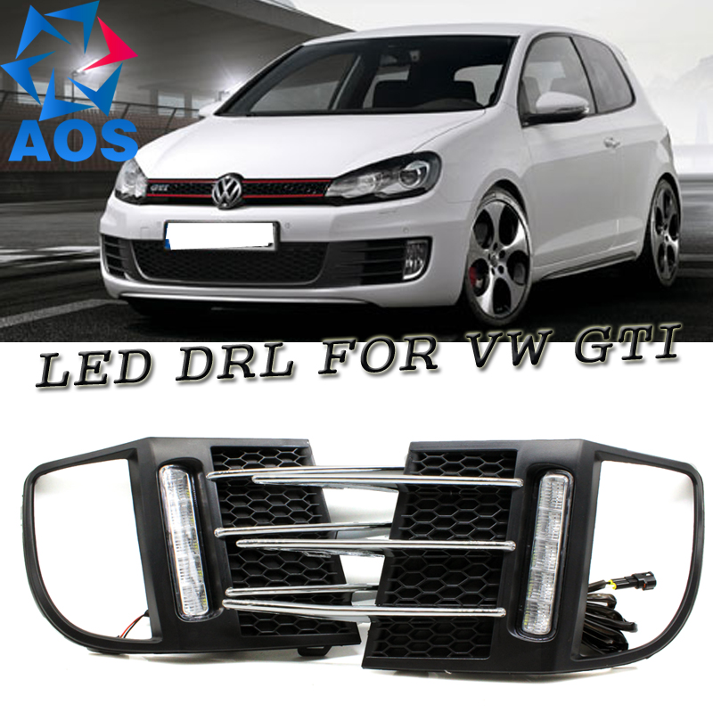 2PCs/set Car styling LED DRL set LED Car DRL Daytime running lights for Volkswagen VW GTI Golf MK6 2009 2010 2011 2012 2013 car rear trunk security shield cargo cover for volkswagen vw golf 6 mk6 2008 09 2010 2011 2012 2013 high qualit auto accessories