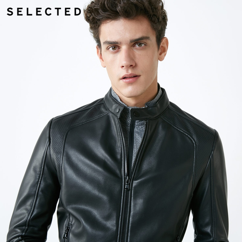 Image 2 - SELECTED Stand up Collar Leather Jacket Men's Zip through PU Jacket S  4184P3506-in Faux Leather Coats from Men's Clothing