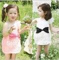 Liquidación de Primavera 2016 de Color Rosa/blanco vestido de princesa niñas oblicuo Arco de la Rosa Vestido de partido de las muchachas JUEGO de LOS CABRITOS EDAD T ~ 8