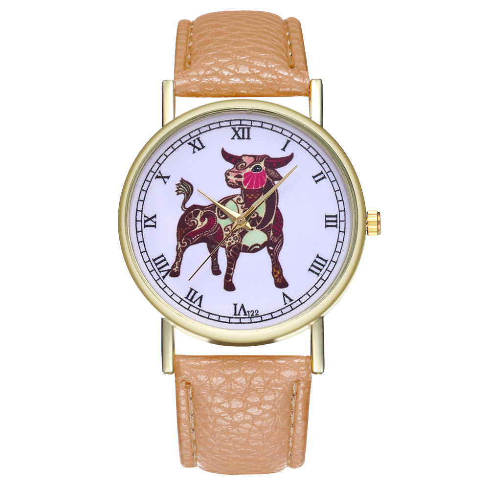 Fashion Taurus Simple Watche Leather Strap Round Campus Women Watch Silicone relojes mujer marca de lujo 2019 For dropshipping 1