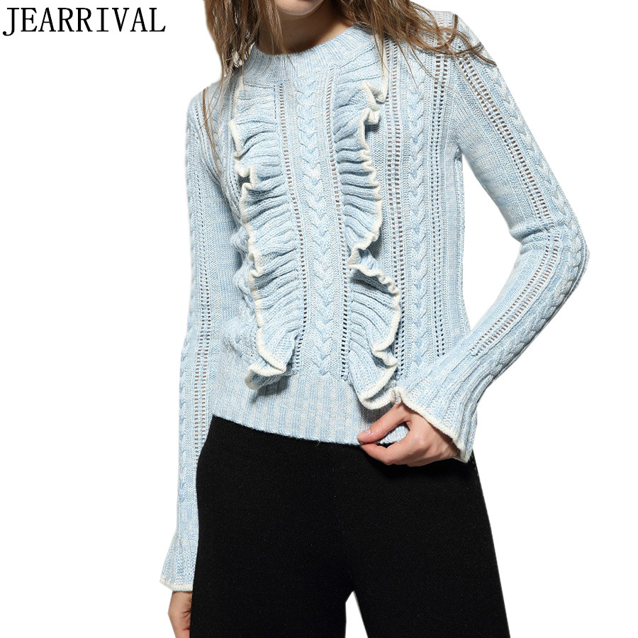 2018 Brand Designer Women Knitted Sweater Autumn Winter New Fashion Flare Sleeve Ruffles Pullovers Casual Jumper Tops Pull Femme