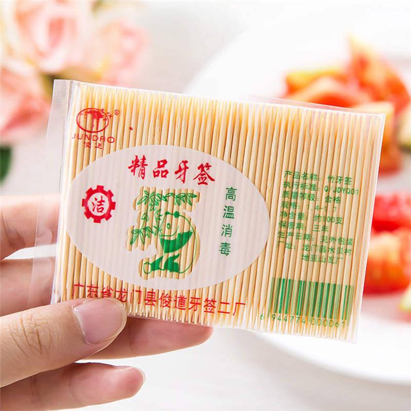 100PCS/ Bag Disposable Wood Dental Natural Bamboo Toothpick For Home Restaurant Hotel Products Toothpicks Tools(China)