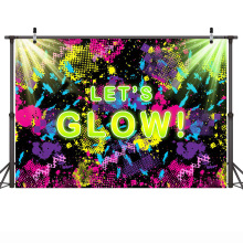 Graffiti Photography Background Birthday Party Theme Backdrops for Photo Booth Let's Glow Theme Backgrounds Vinyl Cloth