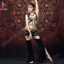 New Gypsy Bra Pants Belts Tribal Bellydance Hip Scarf Coins Top Vintage Women Sexy Fashion Dance Belly Costume Accessories