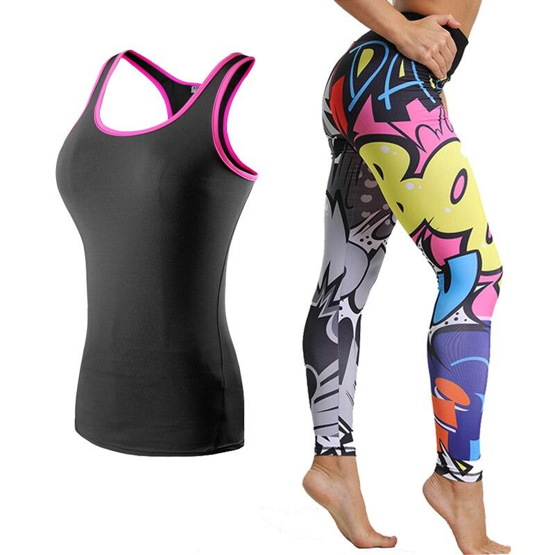 Women's Yoga Set Gym Clothing Leggings+Sports Vest Running Fitness Training Clothing for Women Sportswear for Women Fitness