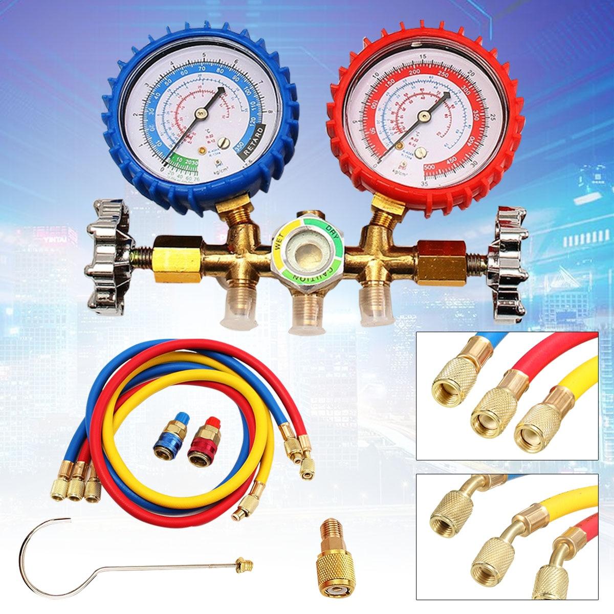 Diagnose Werkzeug R12 R22 R134A HVAC A/C Kältemittel Verteiler Gauge Lade Schlauch Kupplungen Kit Druck Vakuum Tester Set