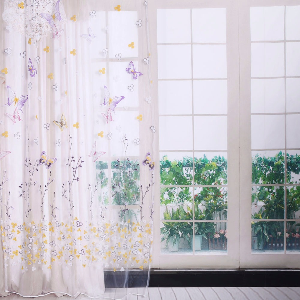 2017 New Design Modern Transparent Hook Butterfly Print Curtains For ...
