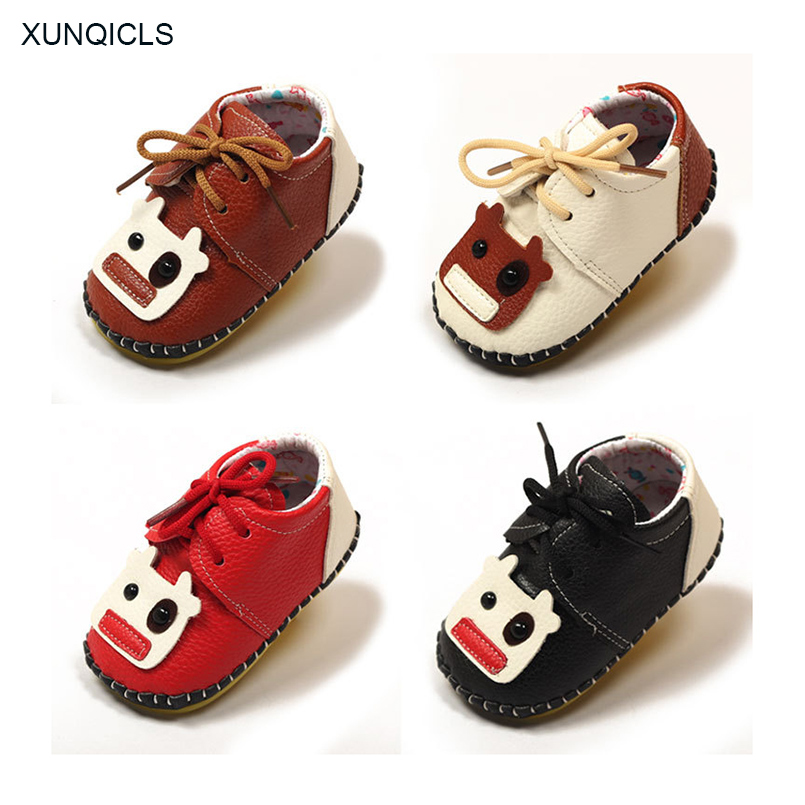 XUNQICLS PU Leather Baby Shoes Girls Boys Cartoon Newborn Shoes Soft Infant Toddler Crib Shoes Sneakers Anti-slip First Walker