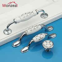 Zinc Alloy Ceramic Dresser Pulls Drawer Furniture Handles Ceramic Kitchen Cabinet Door Knobs Silver Knobs Pulls Porcelain