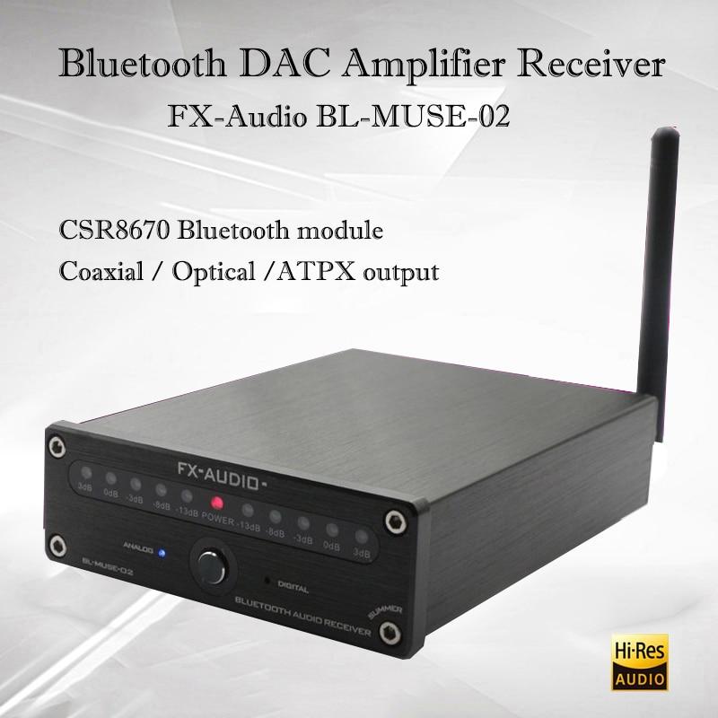 FX-Audio BL-MUSE-02 Hifi Digital Amplifier CSR8670 Portable Bluetooth Amplifier Audio Decoder Dac Power Amplifer Sound Amplifier smsl q5 pro pure digital amplifier audio hifi power amplifier usb dac audio decoder portable stereo sound subwoofer amplifier