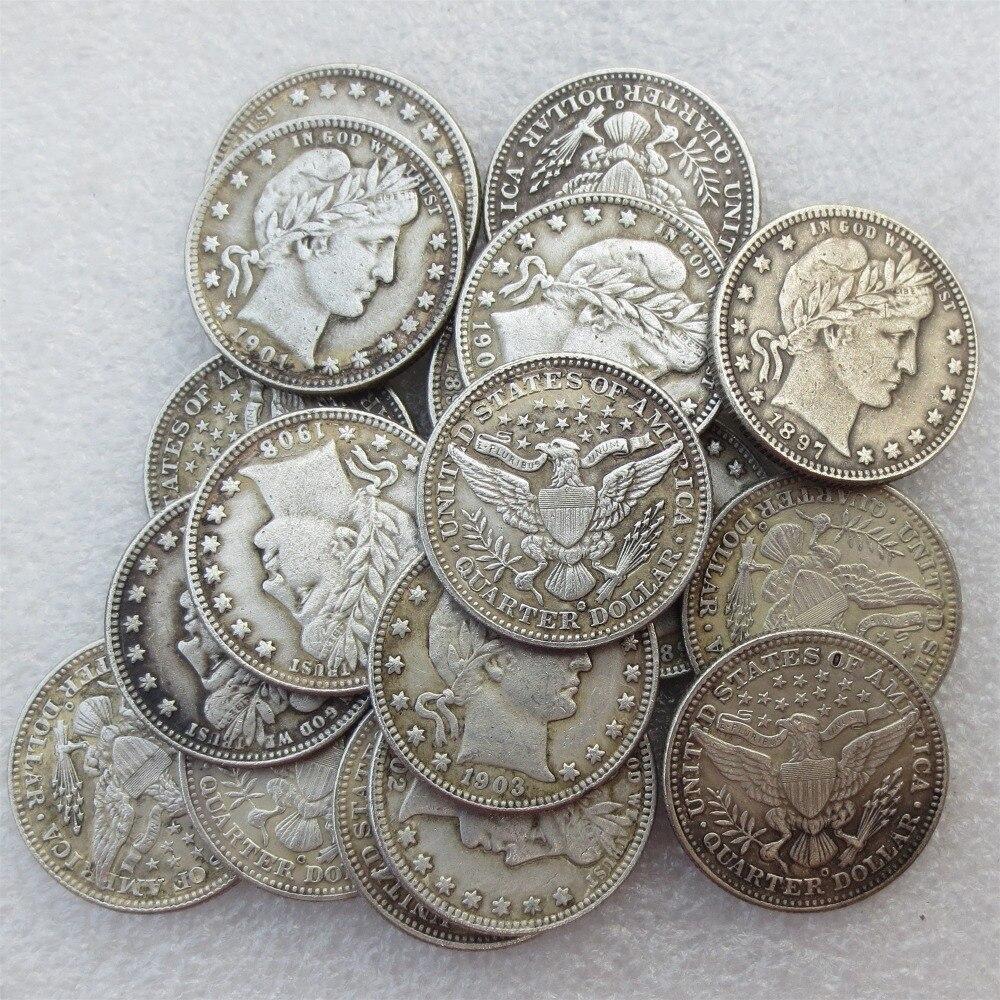 Набор 1892-1909 Barber КВАРТАЛА ДОЛЛАРОВ 18 шт. клеймо: o различные Дата Материал посеребренные или 90% Silve КОПИЯ монета