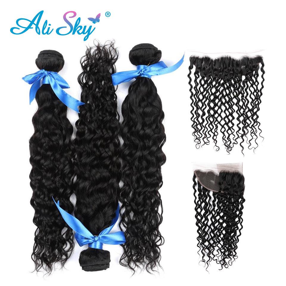 Genteel 3 Bundles Peruvian Water Wave Remy Hair With 13x4 Pre Plucked Lace Frontal Ear To Ear Lace Closure With Baby Hair Ali Sky Human Hair Weaves