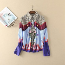 Europe and America style lapel leopard print  shirt 2017 Summer fashion full sleeve blouse  S-XL size