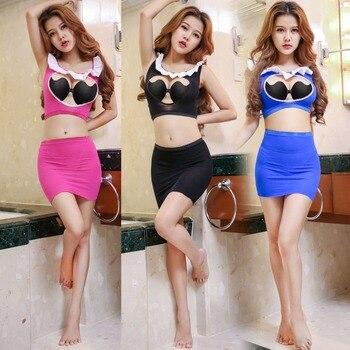 Cup Ausgesetzt Brust Body Sexy Kleid Set Candiway Maid Mini Open EIDH92