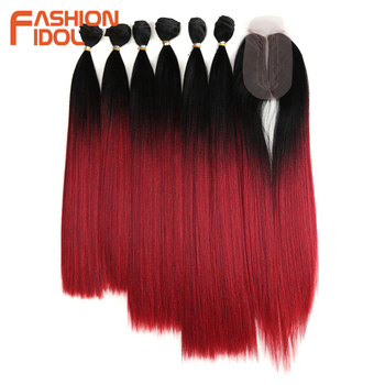 FASHION IDOL Straight Hair Bundles With Closure Synthetic Yaki Hair Weft 16-20inch 7pcs/Pack 250g Ombre Red Hair Weaving Bundles