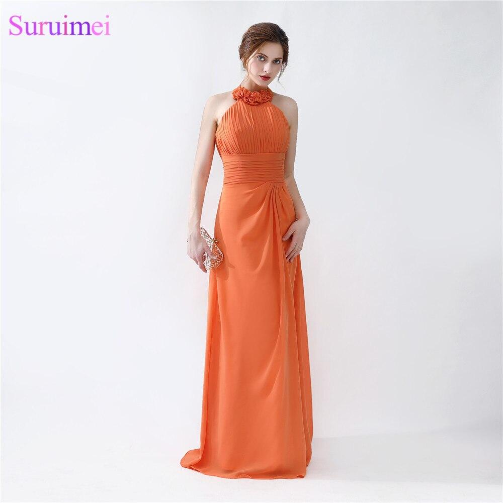 US $12.12 412% OFFHalter Abendkleider Bodenlangen Plissee Peach Farbe  Chiffon Abendkleid Orange Prom Kleider Billig Auf Verkaufevening  dresshalter