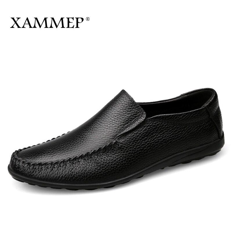 купить Men Casual Shoes Brand Men Shoes Spring Autumn Genuine Leather Men Flats Slip On Men Sneakers Plus Big Size Xammep по цене 2991.89 рублей