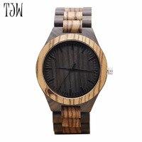 TJW zebra męska zegarek kwarcowy czarny drzewo sandałowe prezent drewna susiness watche dorywczo ochrony środowiska wszystkich Drewniany Zegarek