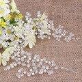 Venta caliente Clásico Elegante Cristal y Perlas Vid de La Cinta de La Boda Celada de Pelo accesorios para el Cabello Diadema Tocado de Novia